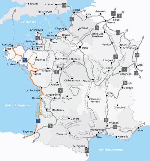 Vélodyssée: eine Übersicht der Strecke des Radwegs entlang der französischen Atlantikküste