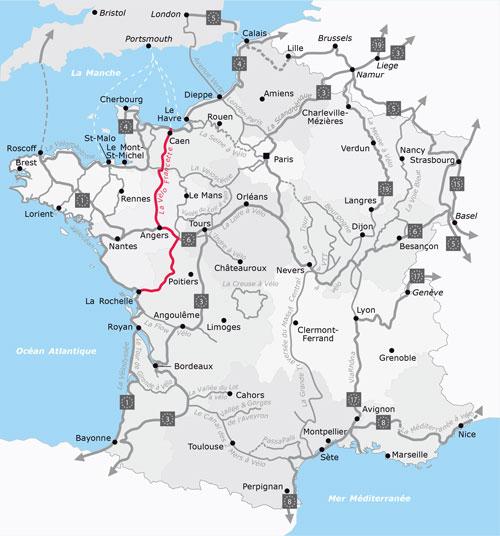 Der Streckenverlauf des Radwegs La Vélo Francette
